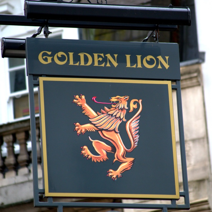 Golden Lion pub sign.