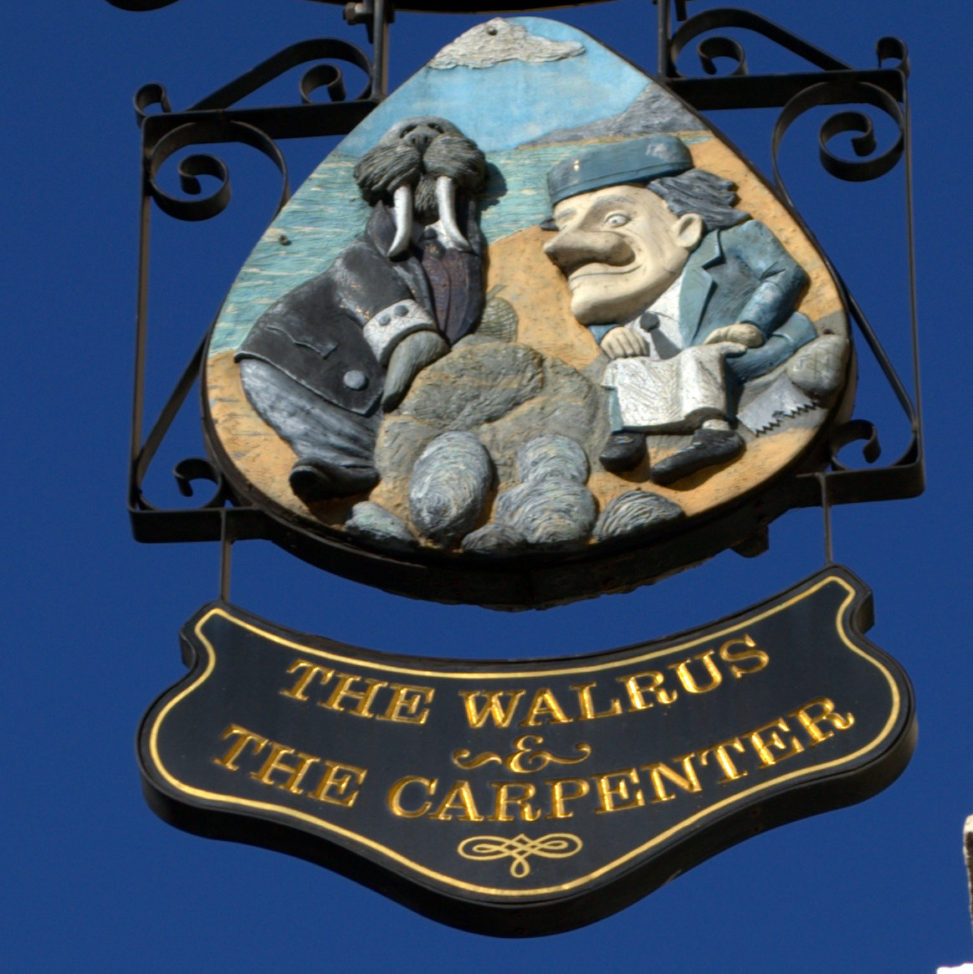 Walrus and the Carpenter pub sign