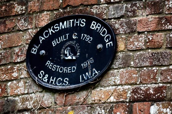 Plaque on Blacksmith's bridge.
